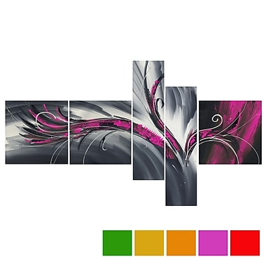 Design Art Abstract Thought, 5 Piece Gallery-wrapped Canvas Print Art, (PT143-PINK)