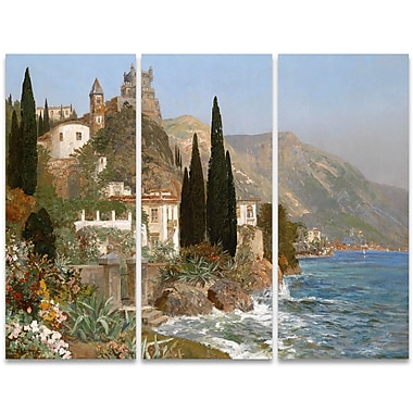 Designart Oceanview European Village 3-Panel Canvas Art Print, (PT4005-36-28)