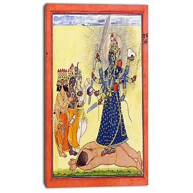 Designart Goddess Bhadrakali, Worshipped by the Gods Canvas Art Print, 3 Panels, (PT4451-20-40)