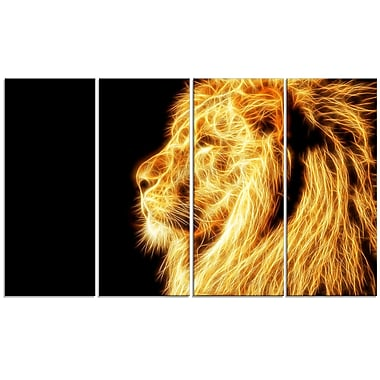 Designart On the Watch 4-Panel Yellow Lion Canvas Art Print, (PT2462-271)