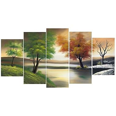 Designart – Imprimé sur toile, Changement de saison sur le lac, 60 po x 32 po, (PT1073)