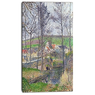 Designart Camille Pissarro, The Banks of the Viosne at Osny Canvas Art Print, 3 Panels, (PT4192-20-40)