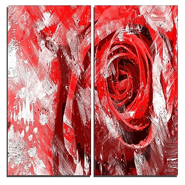 Designart – Art imprimé sur toile, rose rouge, 40 larg. x 40 haut. (po), 2 panneaux (PT3423-2-40-40)