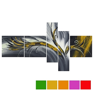 Design Art Abstract Thought, 5 Piece Gallery-wrapped Canvas Print Art, (PT143-YELLOW)