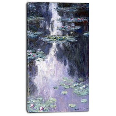Designart Claude Monet, Water Lilies Canvas Art Print, 3 Panels, (PT4233-16-32)
