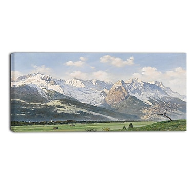 Designart Glacial Mountains and Green Grass Canvas Art Print, (PT4006-32-16)