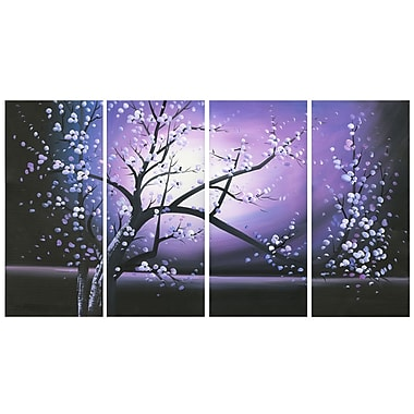 Designart Purple Abstract Flowers Art Hand Painted Canvas Art, 4 Piece, (OL271)