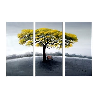 Designart Tree in Solitude Large 3 Piece Oil Canvas Painting, (OL1155)