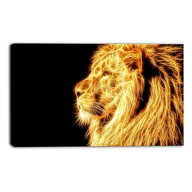 Designart On the Watch Yellow Lion Canvas Art Print, 40