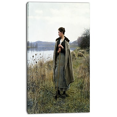 Designart Daniel Ridgway Knight, The Shepherdess of Rolleboise Canvas Art Print, 3 Panels, (PT4275-16-32)