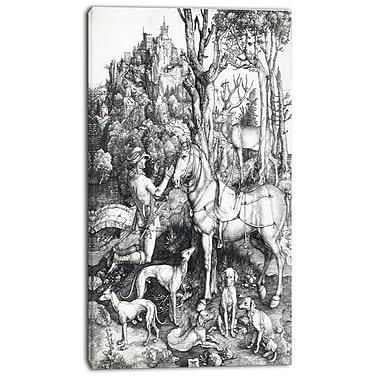 Designart – Albrecht Durer, Saint Eustache, imprimé sur toile, 3 panneaux (PT4117-16-32)