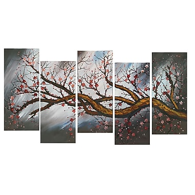 Design Art Large Blossoming Beauty Gallery-Wrapped Canvas Print, (PT1084-5p-BROWN)