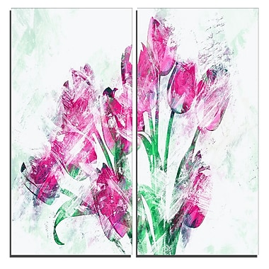 Designart Pink Tulips Canvas Art Print, 40