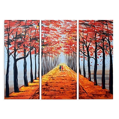 Designart On Your Own Path Forest Oil Painting, (OL1227)