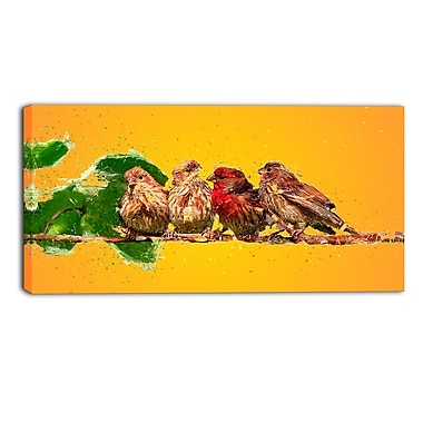 Designart Yellow Baby Birds Canvas Art Print, (PT2494-2-32-16)
