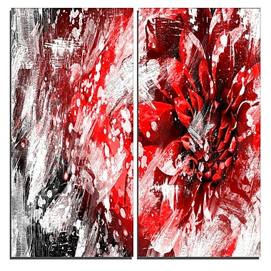 Designart Modern Red and White Floral Art Canvas Art Print, 40