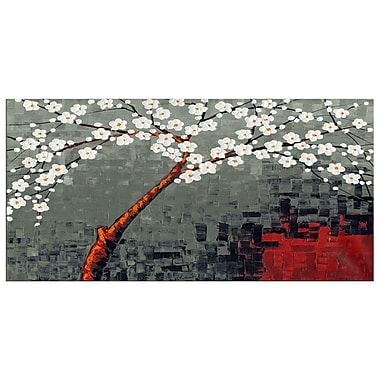 Design Art Abstract Grey and White Flowers, 5 Piece Canvas Print, (PT2001-32X16-1P)