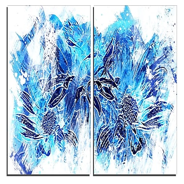 Designart Electric Blue Flowers Canvas Art Print, 40