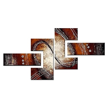 Designart Abstract Red/Brown Painting, 4 Piece Hand Painted Canvas Art, (OL422)