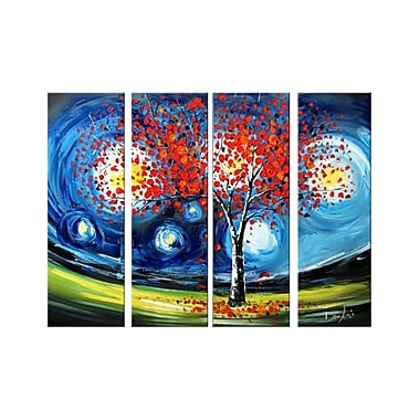 Designart Heavily Textured Modern Tree, 4 Piece Hand-Painted Oil on Canvas Art, (OL1157)