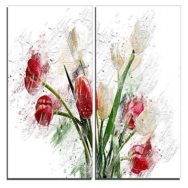 Designart – Art imprimé sur toile, roses blanches et rouges, 40 larg. x 40 haut. (po), 2 panneaux (PT3435-40-40)