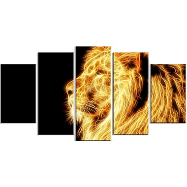Designart On the Watch 5-Panel Yellow Lion Canvas Art Print, (PT2462-373)