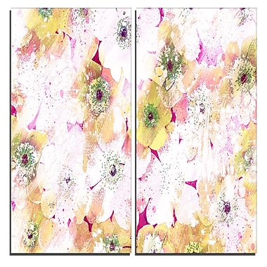 Designart Pink and Yellow Flower Bed Canvas Art Print, 40