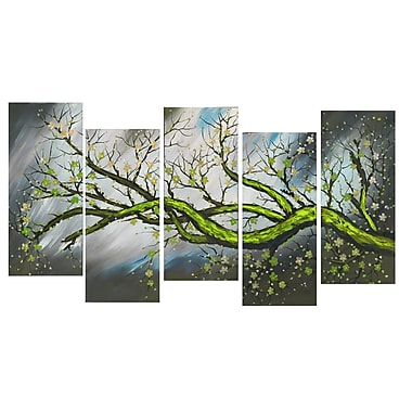 Design Art Large Blossoming Beauty Gallery-Wrapped Canvas Print, (PT1084-5P-GREEN)