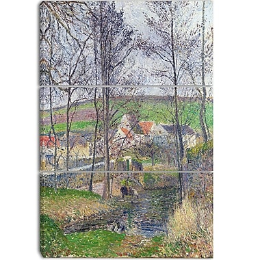 Designart Camille Pissarro, The Banks of the Viosne at Osny Canvas Art Print, 3 Panels, (PT4192-3P)