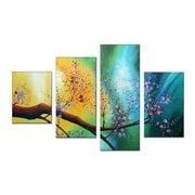Designart Large Hand Painted Pastel Floral, 5 Piece Canvas Oil Painting, (ol359)