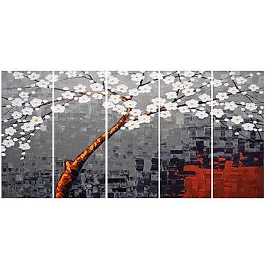 Designart – Imprimé sur toile, Fleurs abstraites, gris et blanc, 5 pièces, (PT2001-271)