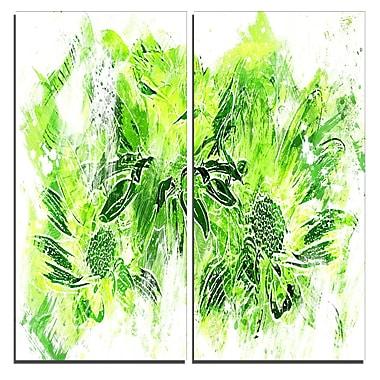 Designart Electric Green Flowers Canvas Art Print, 40