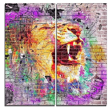 Designart Lion in the City Street Art Canvas Artwork, (PT3631-40-40)