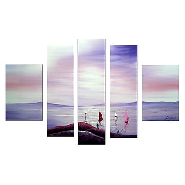 Designart Purple Sunset and Boats on the Water Oil Painting, 5 Piece, (OL1161)