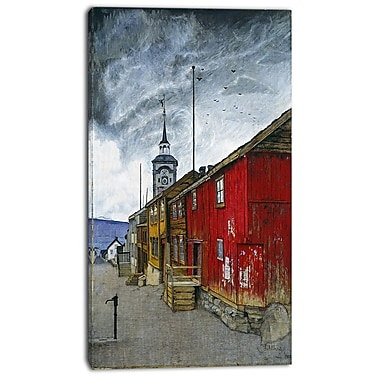 Designart Harald Sohlberg, Street in Roros Canvas Art Print, 3 Panels, (PT4483-16-32)
