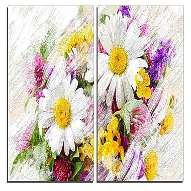 Designart – Impression sur toile, bouquet de fleurs sauvages, 40 larg. x 40 haut. (po), 2 panneaux (PT3436-40-40)