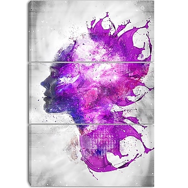 Designart Explosive Portrait Street Art Canvas Artwork, (PT3603-3P)