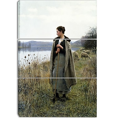 Designart Daniel Ridgway Knight, The Shepherdess of Rolleboise Canvas Art Print, 3 Panels, (PT4275-3P)