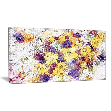 Designart Pastel Colour Flower Bed Canvas Art Print, (PT3416-2-32-16)