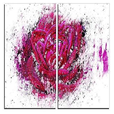 Designart – Impression sur toile, rose rose, 40 larg. x 40 haut. (po), 2 panneaux (PT3403-2-40-40)