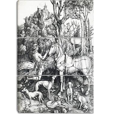 Designart Albrecht Durer, Saint Eustace Canvas Art Print, 3 Panels, (PT4117-3P)