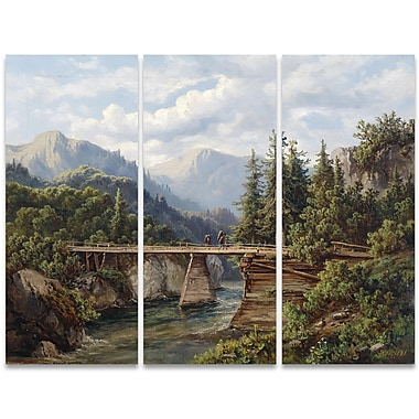 Designart Trecking Accross the Tracks 3-Panel Canvas Art Print, (PT4007-36-28)