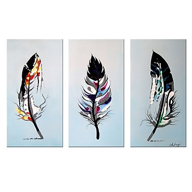 Designart Feathers 3 Piece Hand-Painted Oil on Canvas ArtAbstract Oil Painting,, (OL1163)
