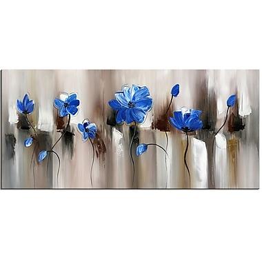 Designart – Imprimé moderne sur toile, Fleur, bleu, 40 x 20, (PT1104-40-20)