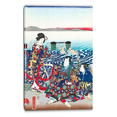 Designart Utagawa Yoshitora, Gejni Crossing the Oi River Large Asian Canvas Art, (PT4985-16-32)
