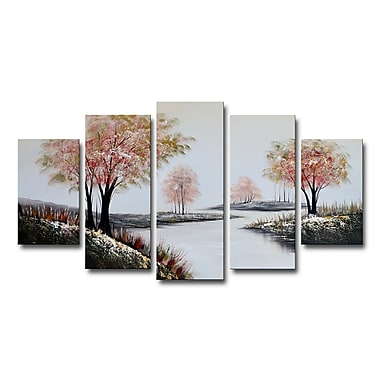 Designart Red Trees on a White Path Forest Oil Painting, (OL1237)