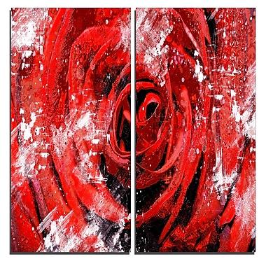 Designart – Art imprimé sur toile, au centre de la rose, 40 larg. x 40 haut. (po), 2 panneaux (PT3427-1-40-40)