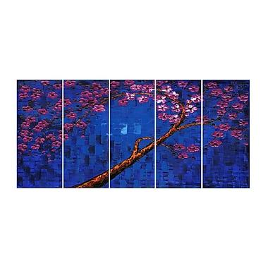 Designart – Art abstrait bleu profond et violet, œuvre en 4 panneaux à motif floral imprimé sur toile (PT2002-271)