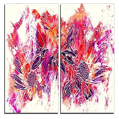 Designart – Art imprimé sur toile, fleurs orange électrique, 40 larg. x 40 haut. (po), 2 panneaux (PT3410-4-40-40)
