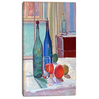 Designart Spencer Frederick, Blue and Green Bottles and Oranges Canvas Art Print, (PT4928-16-32)
